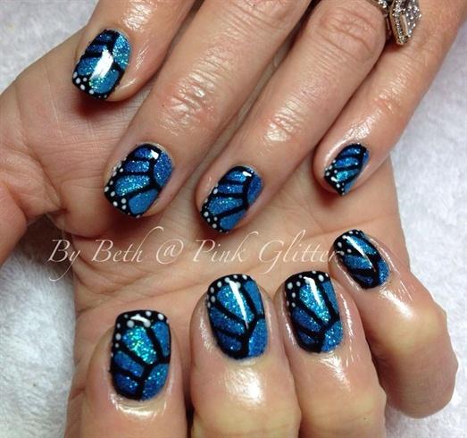 Nail Art Blue Glitter: 55+ Blue Butterfly Nail Art Design Idea