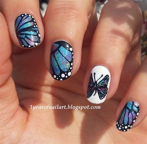 55 blue butterfly nail art design idea blue glitter gel butterfly wings nail design prinsesfo Choice Image