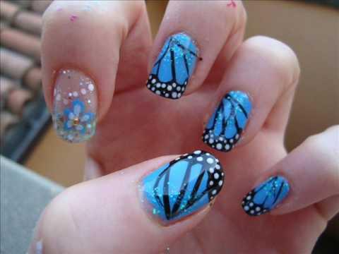 55 Blue Erfly Nail Art Design Idea