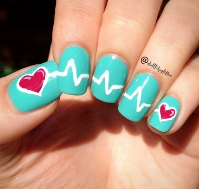 Blue Nails With White Heartbeat Nail Art Idea