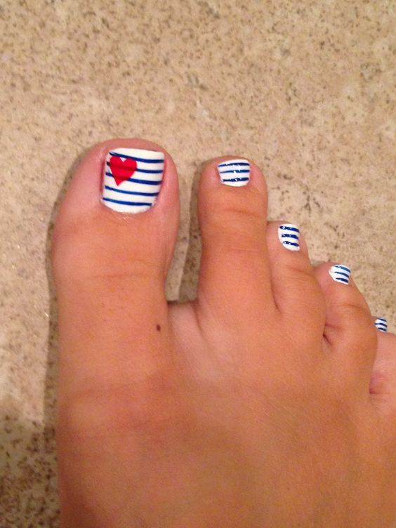Blue Stripes With Red Heart Nail Art Toe Nail Art - 38 Best Heart Nail Art Designs For Toe Nails