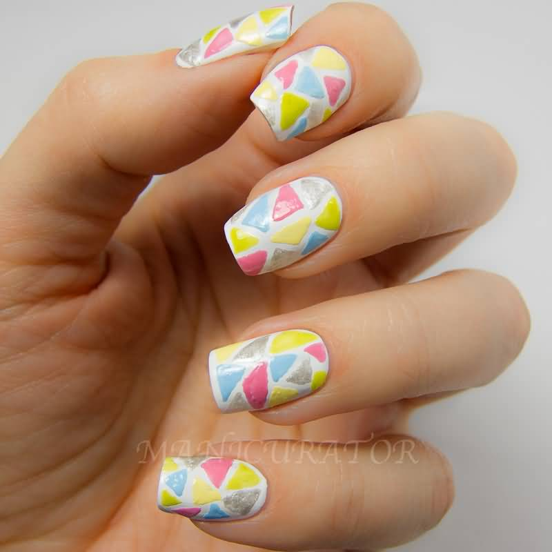 Candy Mosaic Design Nail Art