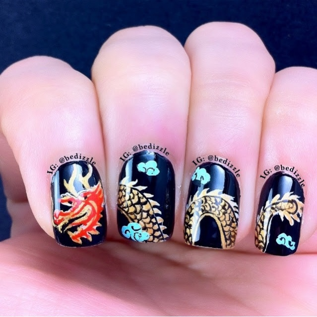 - Chinese Dragon Nail Art Design Idea
