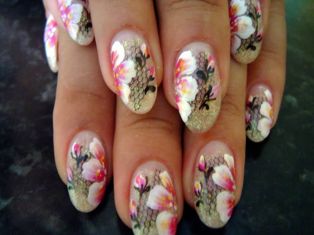 Chinese Pink Flowers With Sequins Nail Art