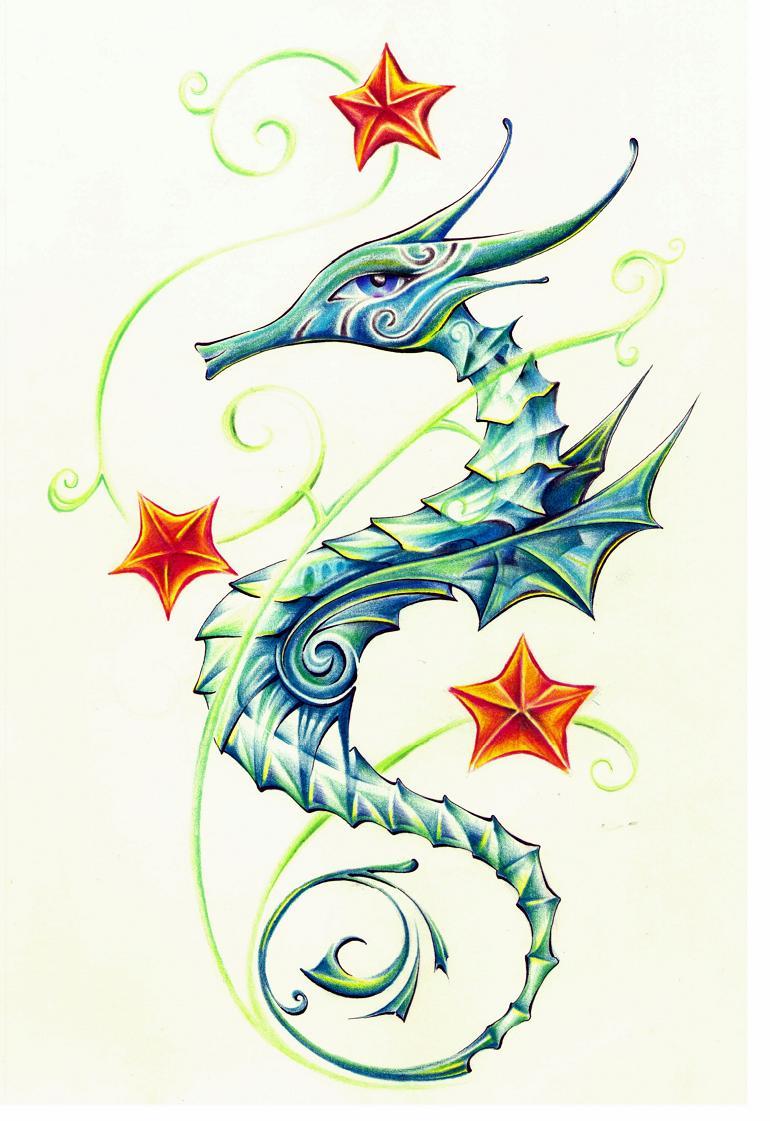 60 sea creature sea horse tattoo designs and pictures. Black Bedroom Furniture Sets. Home Design Ideas