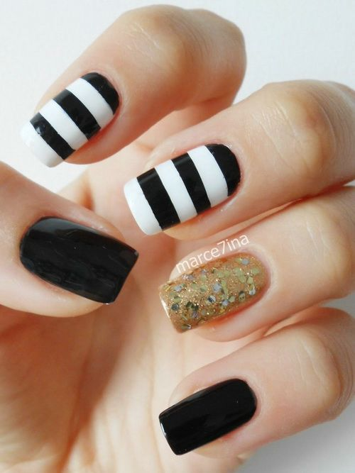 Cool Black And White Stripes Design Nail Art With Accent Gold Glitter Design - 50+ Most Beautiful Black And White Nail Art Designs