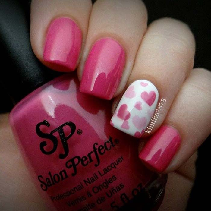 75 most stylish pink heart nail art design ideas cute accent pink hearts nail art on white nail prinsesfo Gallery