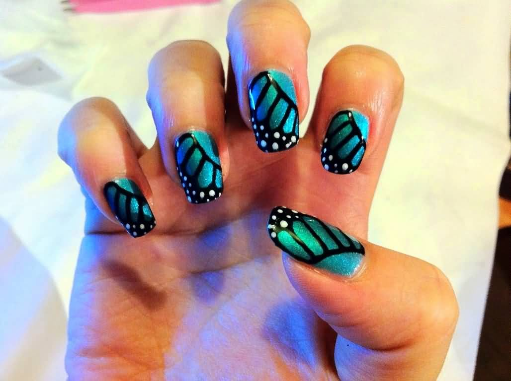 55 Blue Butterfly Nail Art Design Idea