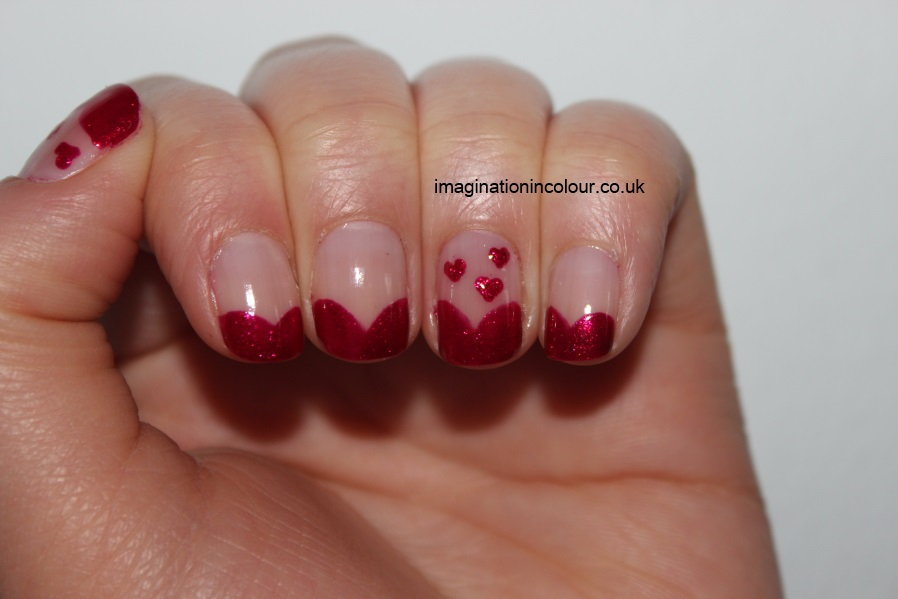 Cute Little Accent Red Hearts Nail Art