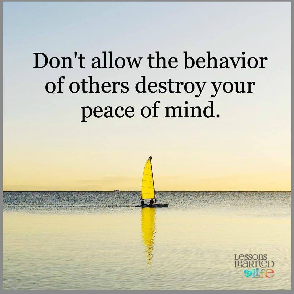 Do Not Let The Behavior Of Others Destroy Your Peace Of Mind