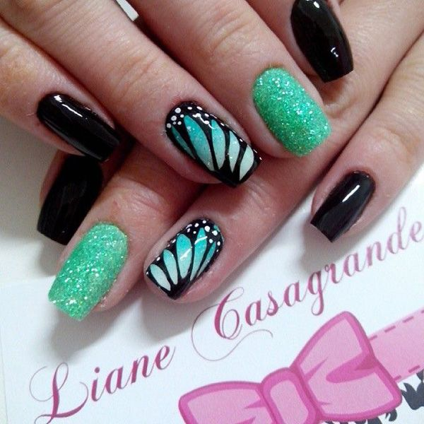 40 Classy Black Nail Art Designs For Hot Women: 55+ Best Butterflies Nail Art Design Ideas For Trendy Girls