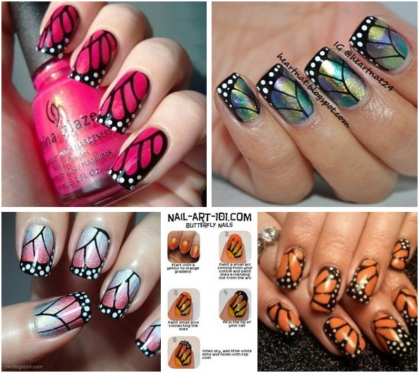 Four Erfly Wings Nail Art Designs