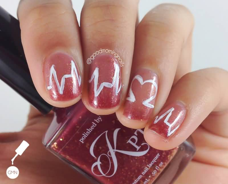 Freehand Heartbeat Nail Art Design Idea