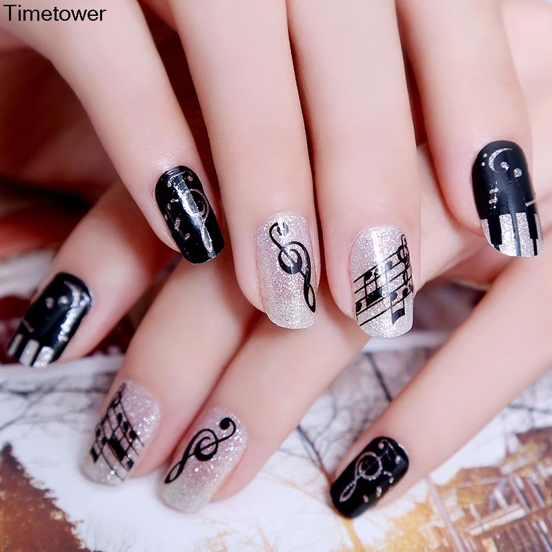42 latest music nail art design ideas glitter gel nails with black music notes nail art design prinsesfo Image collections
