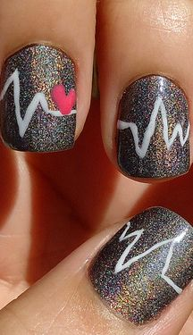 Glitter Gel Nails With White Heartbeat And Pink Heart Nail Art