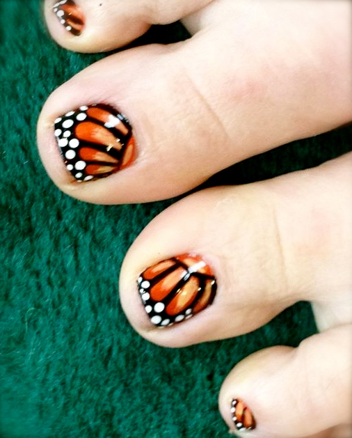 27+ Most Wonderful Butterfly Nail Art For Toe Nails