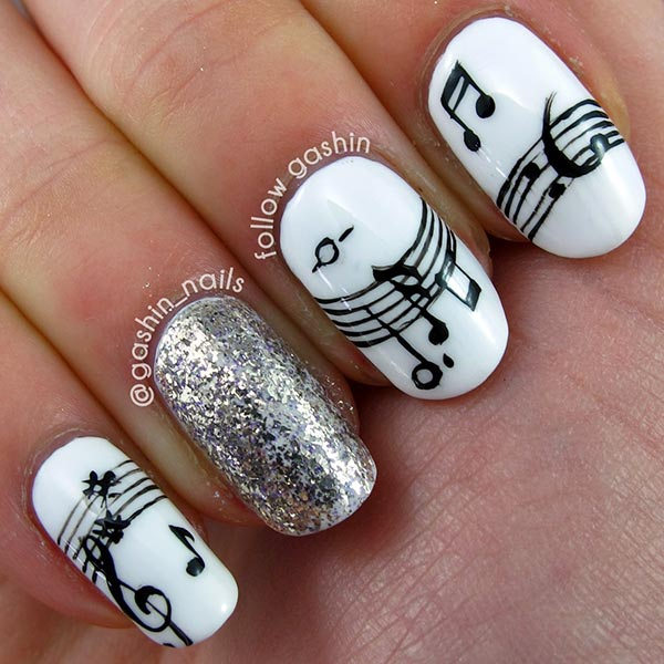 Luxury Nail Designs With Music Notes Mold - Nail Art Design Ideas ...