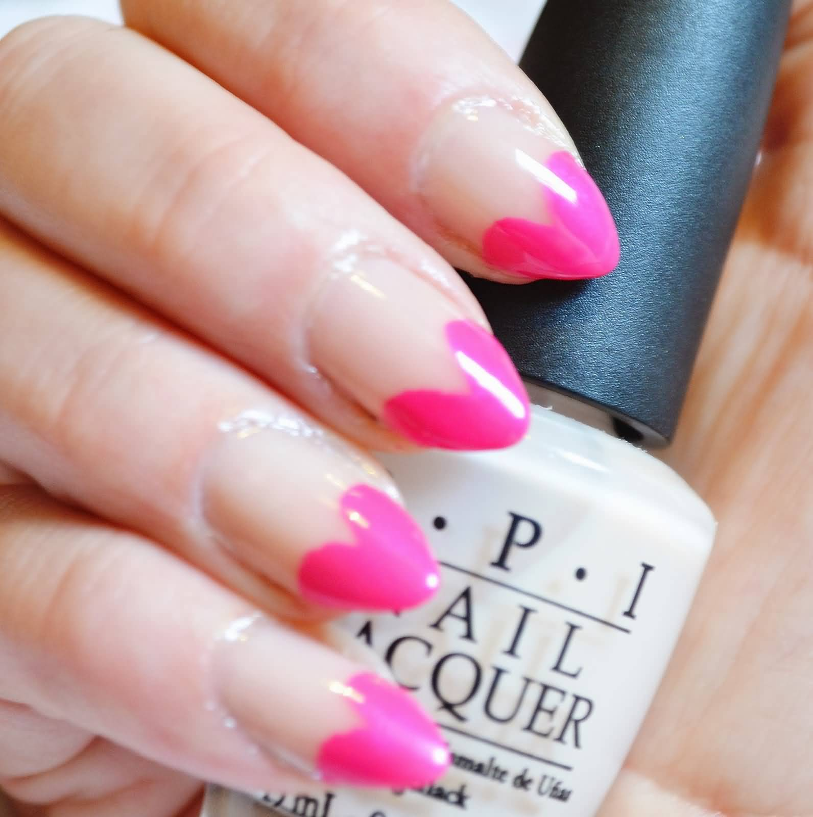 Glossy Pink French Tip Hearts Nail Art - 75 Most Stylish Pink Heart Nail Art Design Ideas