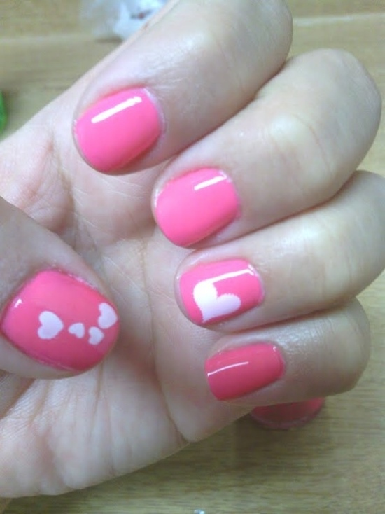 60 latest heart nail art designs glossy pink nails with white hearts nail art design prinsesfo Choice Image