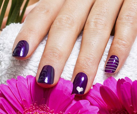 Glossy Purple Nails With Silver Heart Nail Art Design Idea - 45+ Latest Heart Nail Art Designs For Trendy Girls