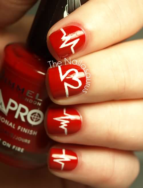 Glossy Red Nails With White Heartbeat Nail Art Design Idea