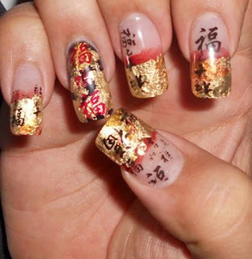 Gold Acrylic Chinese Nail Art Design Idea