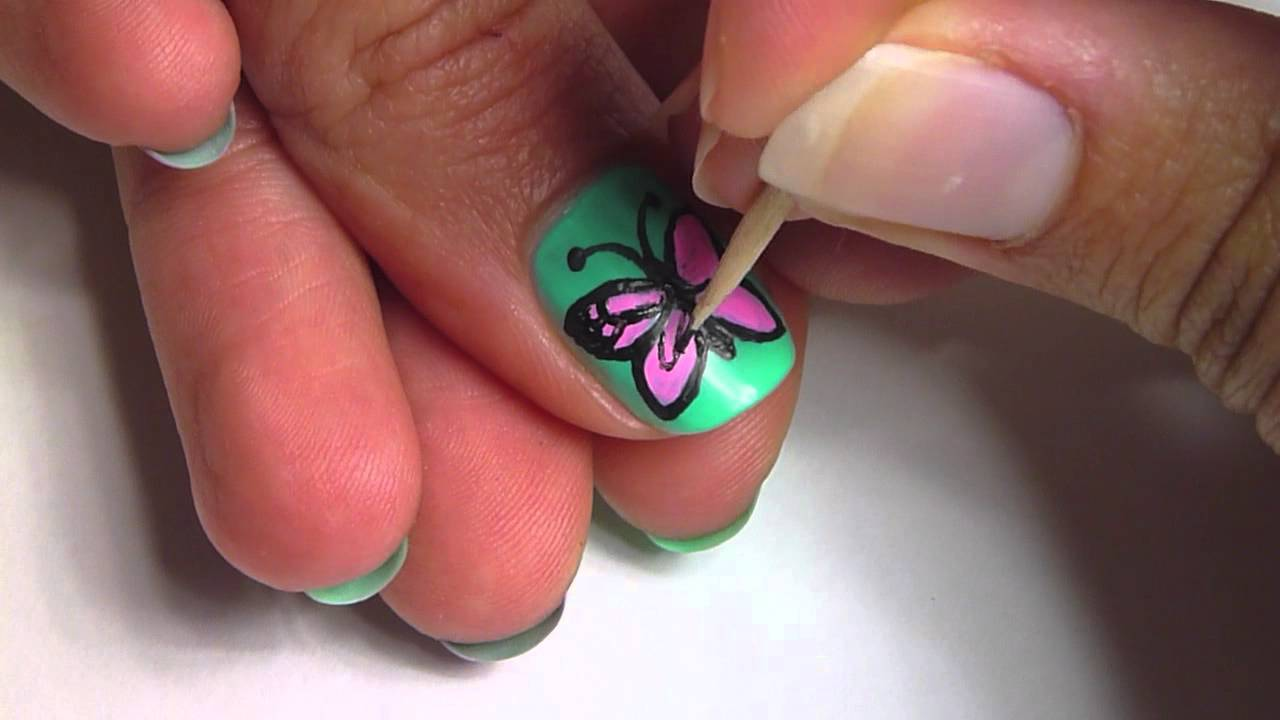 Green Nails With Pink Erfly Nail Art Design Idea