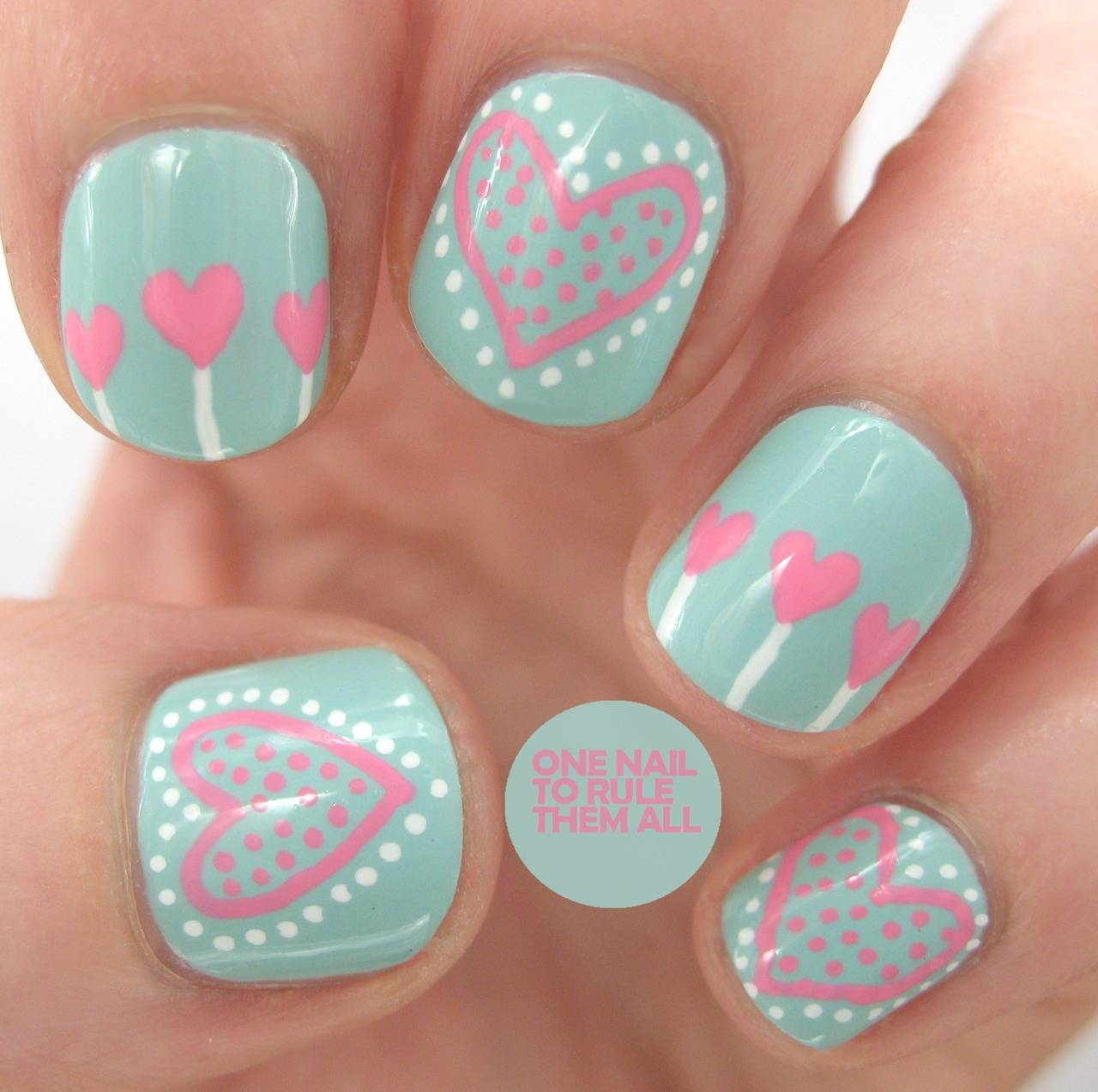 Green Nails With Pink Hearts And Dots Design Nail Art - 75 Most Stylish Pink Heart Nail Art Design Ideas