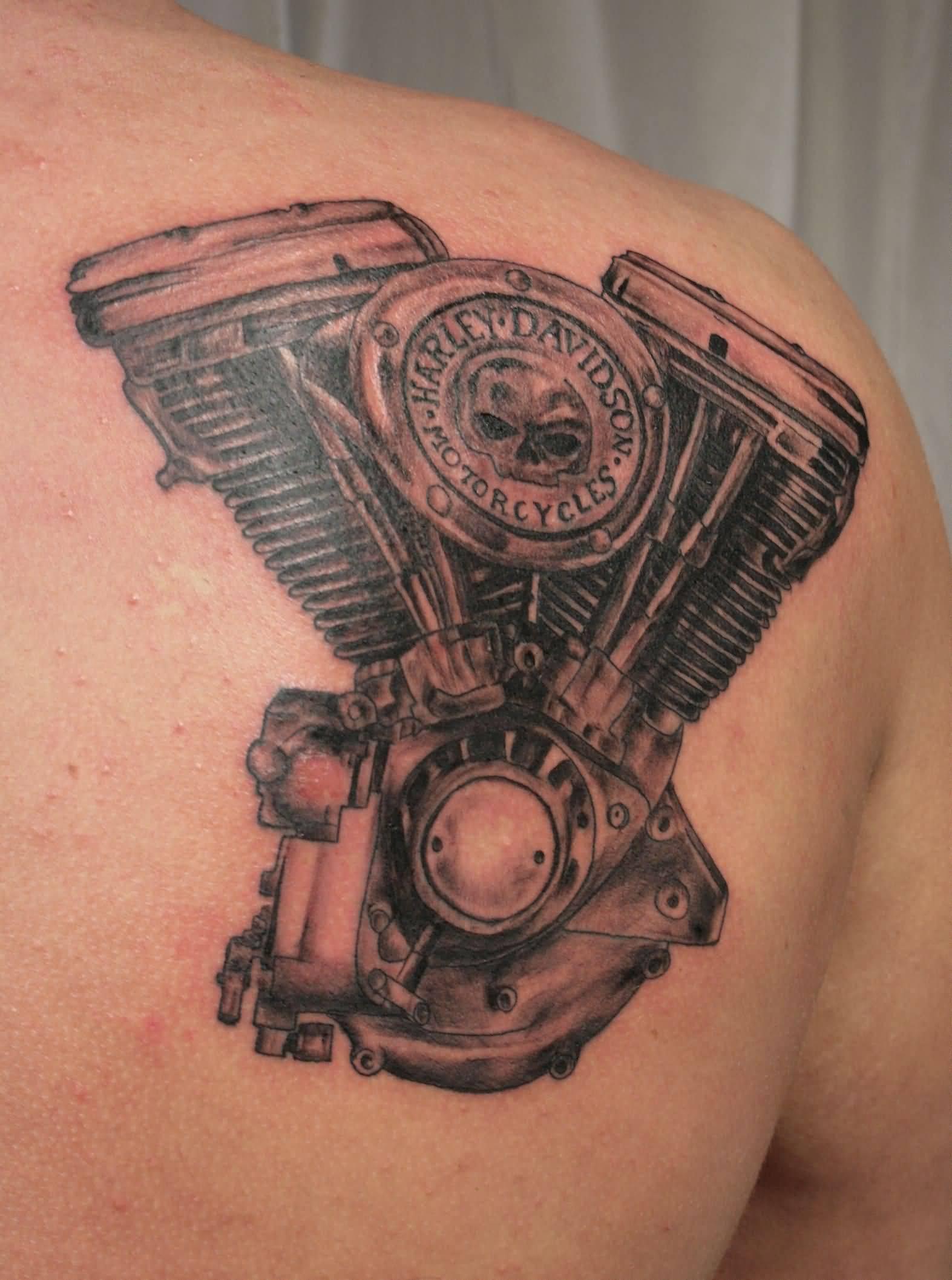 Grey And Black Harley Davidson Engine Tattoo On Right Back Shoulder