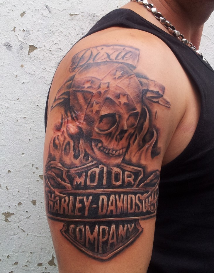 Grey Skull And Harley Davidson Logo Tattoo On Right Half Sleeve
