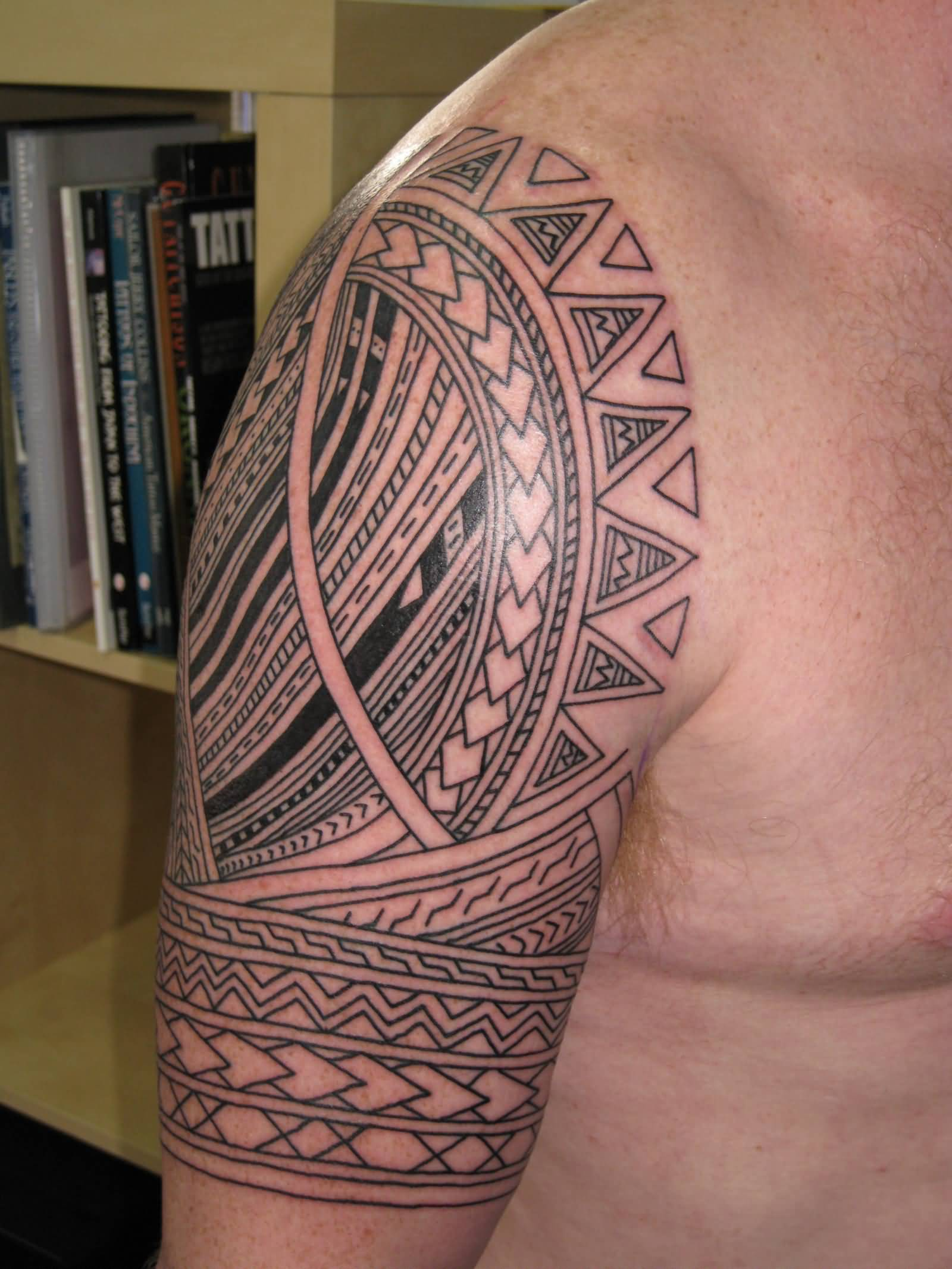 half sleeve samoan tribal tattoo for men. Black Bedroom Furniture Sets. Home Design Ideas