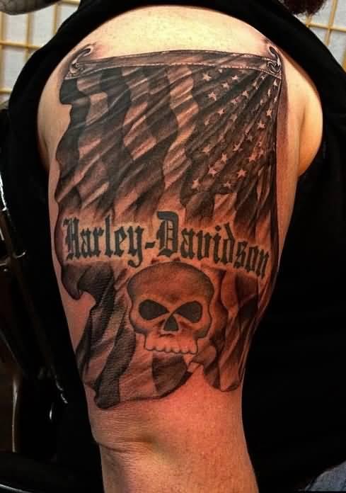 16 harley 1 logo tattoos for Harley skull tattoos
