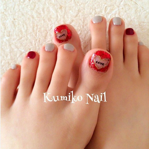 38 Best Heart Nail Art Designs For Toe Nails