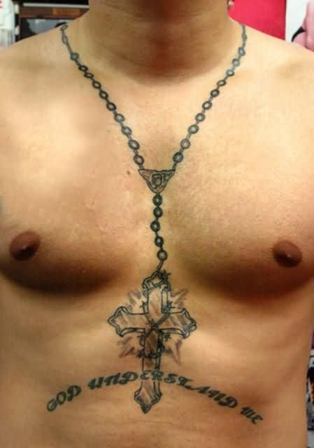d14b6c9fa Lettering And Rosary Cross Necklace Tattoo For Men