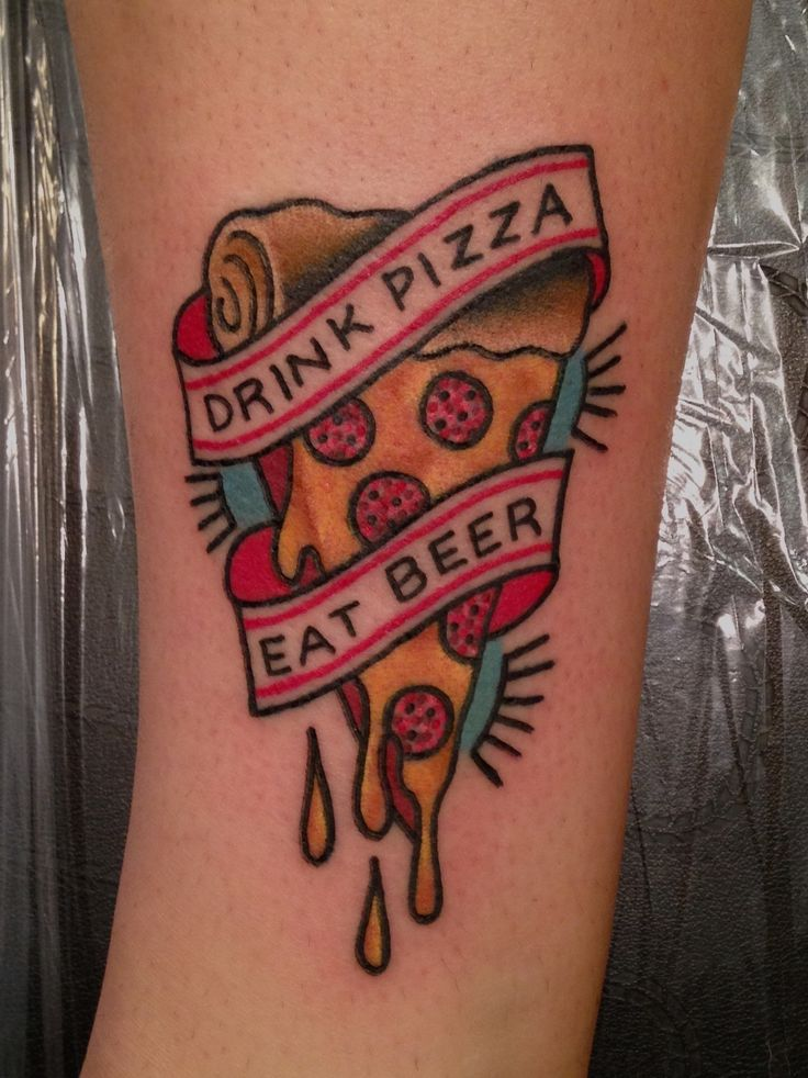 Lettering Pizza And Pizza Slice Traditional Tattoo