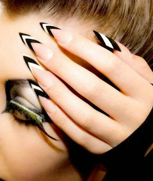 55 most amazing black and white nail art design ideas long edged black and white nail art design idea prinsesfo Gallery