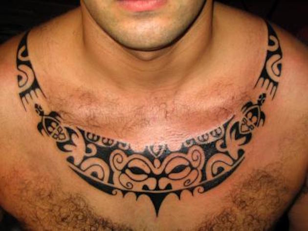 Maori Tribal Tattoo Designs Chest: 40+ Latest Necklace Tattoos Ideas