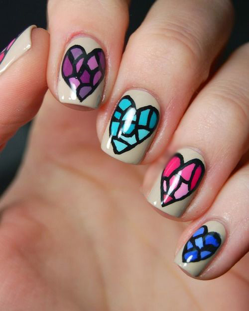 50 latest mosaic design nail art ideas for trendy girls mosaic heart nail art design idea prinsesfo Images