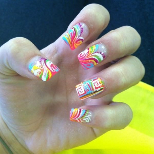 - Mosaic Spring Nail Art Design Idea