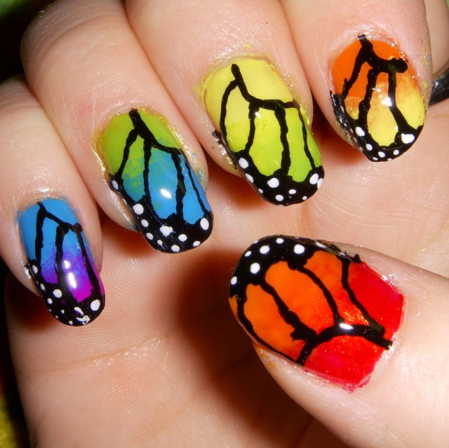 Multicolored Butterfly Wings Nail Art Design