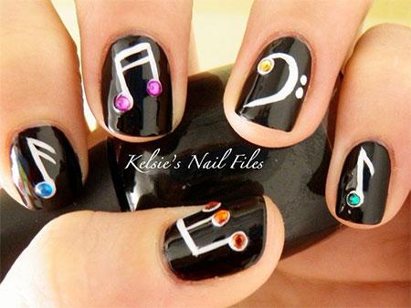 - Music Notes With Rhinestones Nail Art Idea