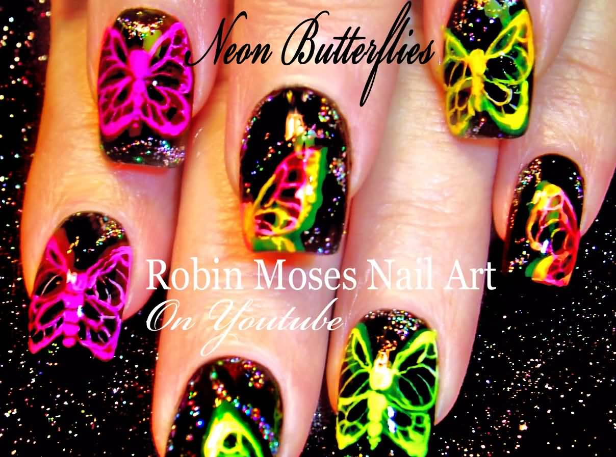 41 most stylish butterfly nail art designs neon butterflies nail art design idea prinsesfo Image collections