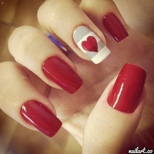 One Red Heart Nail Art - 60+ Latest Red Heart Nail Art Design Ideas