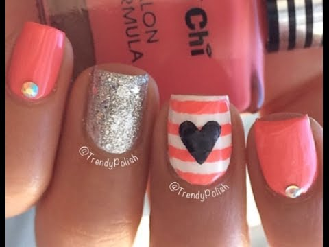 45 latest heart nail art designs for trendy girls peach color stripes with black heart nail art design idea prinsesfo Gallery