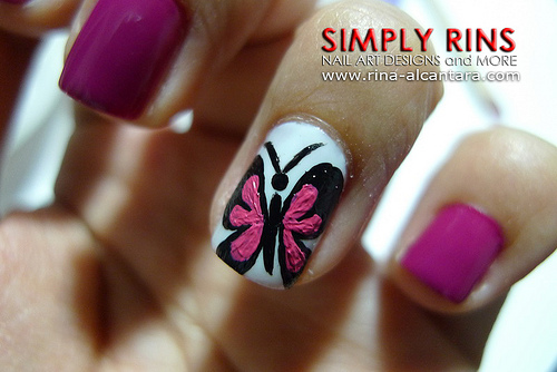 Pink Acrylic Accent Erfly Nail Art Design