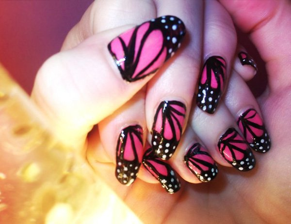 Pink And Black Erfly Nail Art
