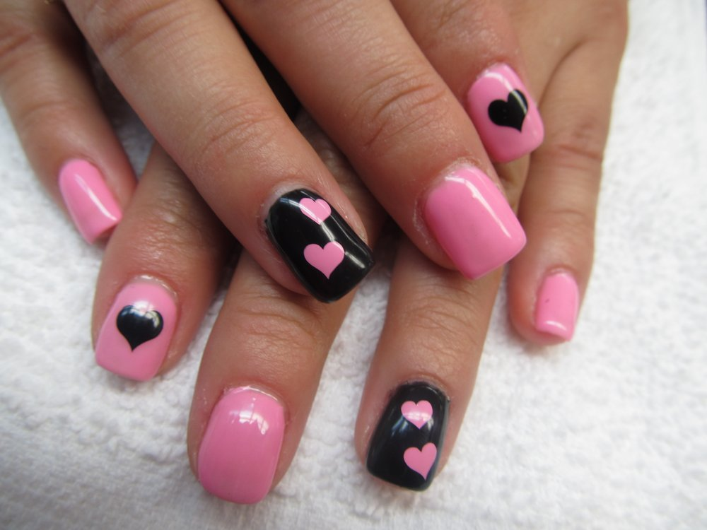75 most stylish pink heart nail art design ideas pink and black heart nail art prinsesfo Image collections