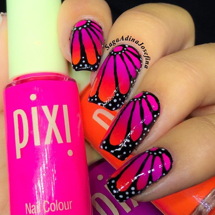 55 best butterflies nail art design ideas for trendy girls pink and orange ombre butterfly wings nail art prinsesfo Choice Image