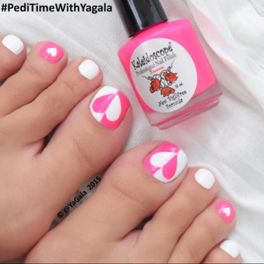 38 best heart nail art designs for toe nails pink and white heart design toe nail art design idea prinsesfo Choice Image