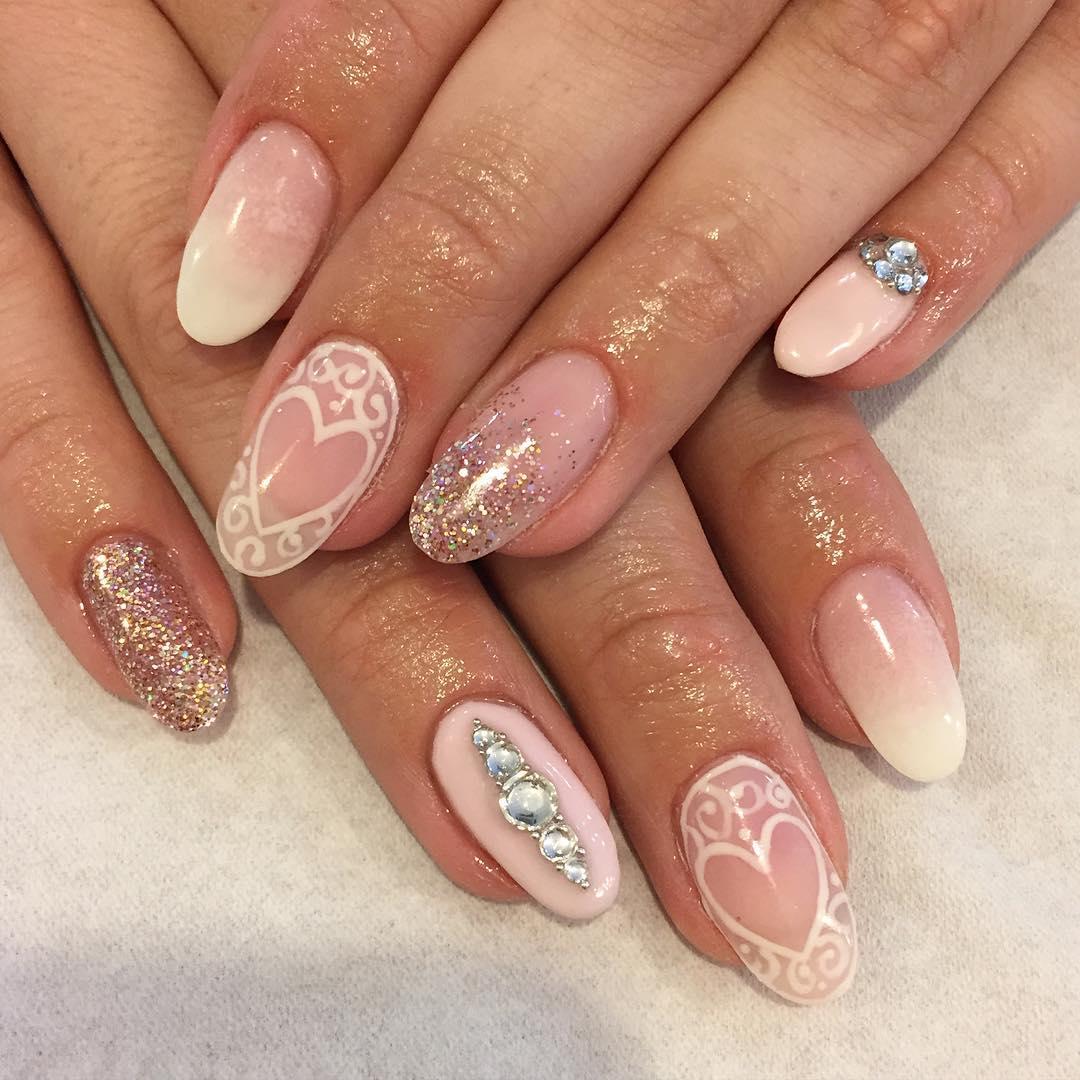 75 most stylish pink heart nail art design ideas pink and white heart nail art design prinsesfo Gallery